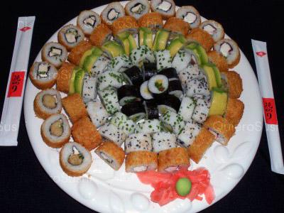 70 piezas de sushi en Genki Sushi, Puente Alto