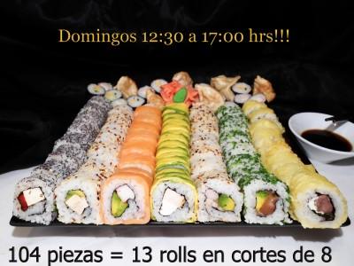 104 piezas de sushi en Sushi Inside, Providencia