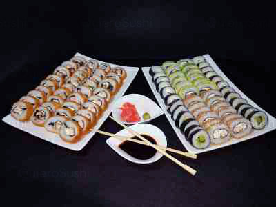 84 piezas de sushi en Okane Sakin Sushi, Providencia